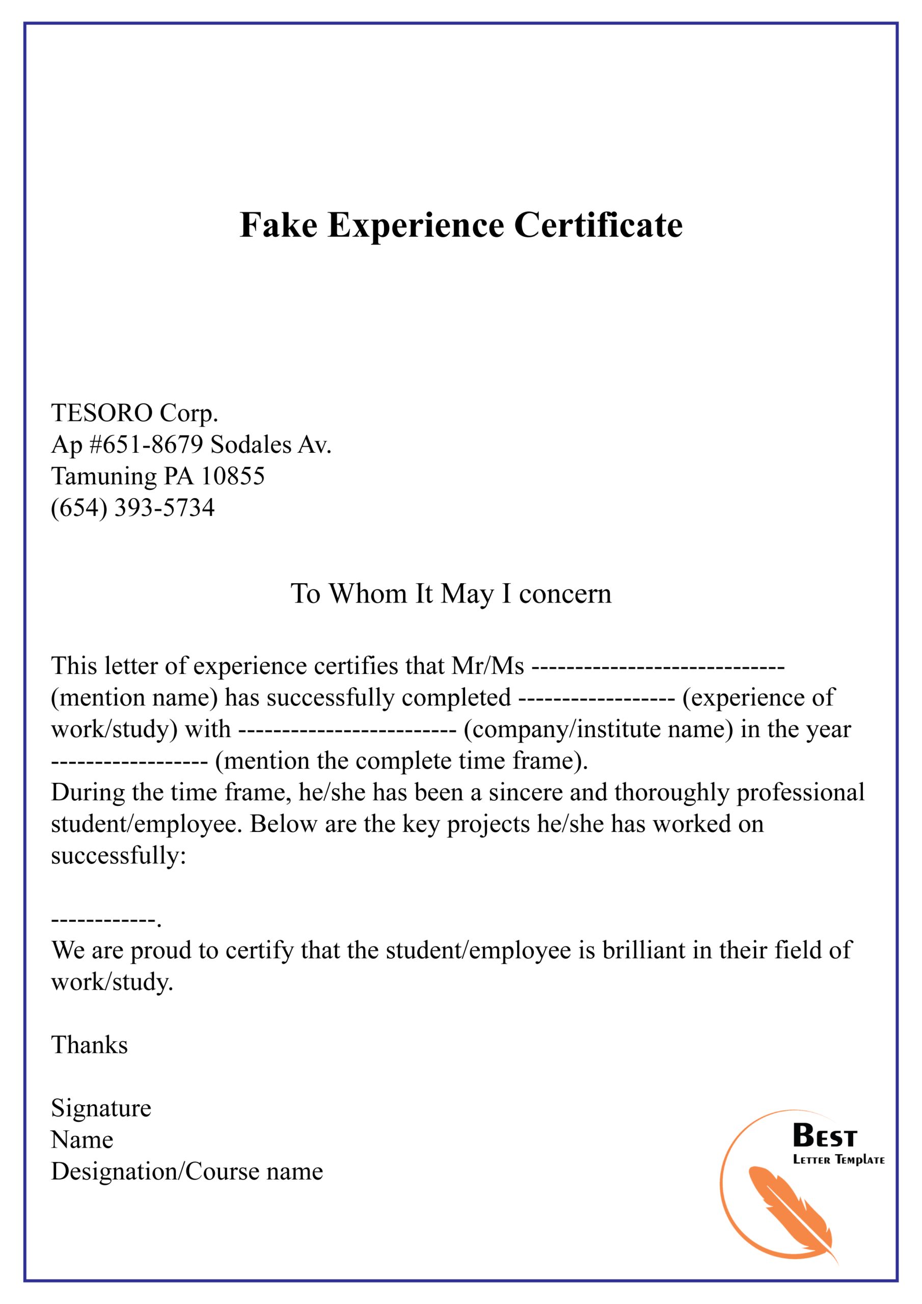 Fake Experience Certificate 01 | Best Letter Template Inside Certificate Of Experience Template