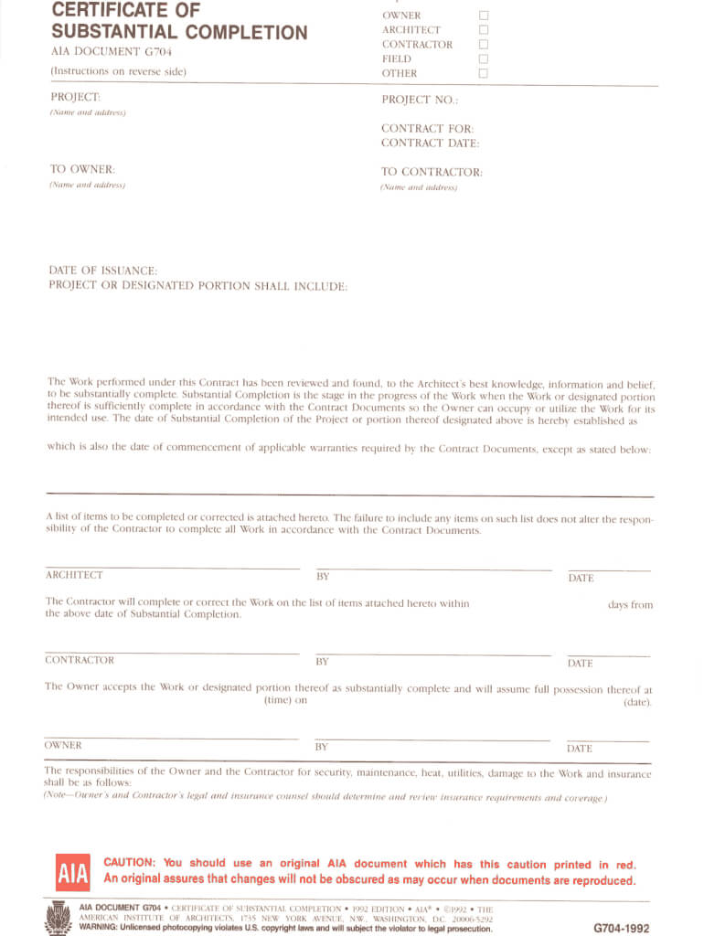Fillable Online Certificate Of Substantial Completion Fax Within Certificate Of Substantial Completion Template