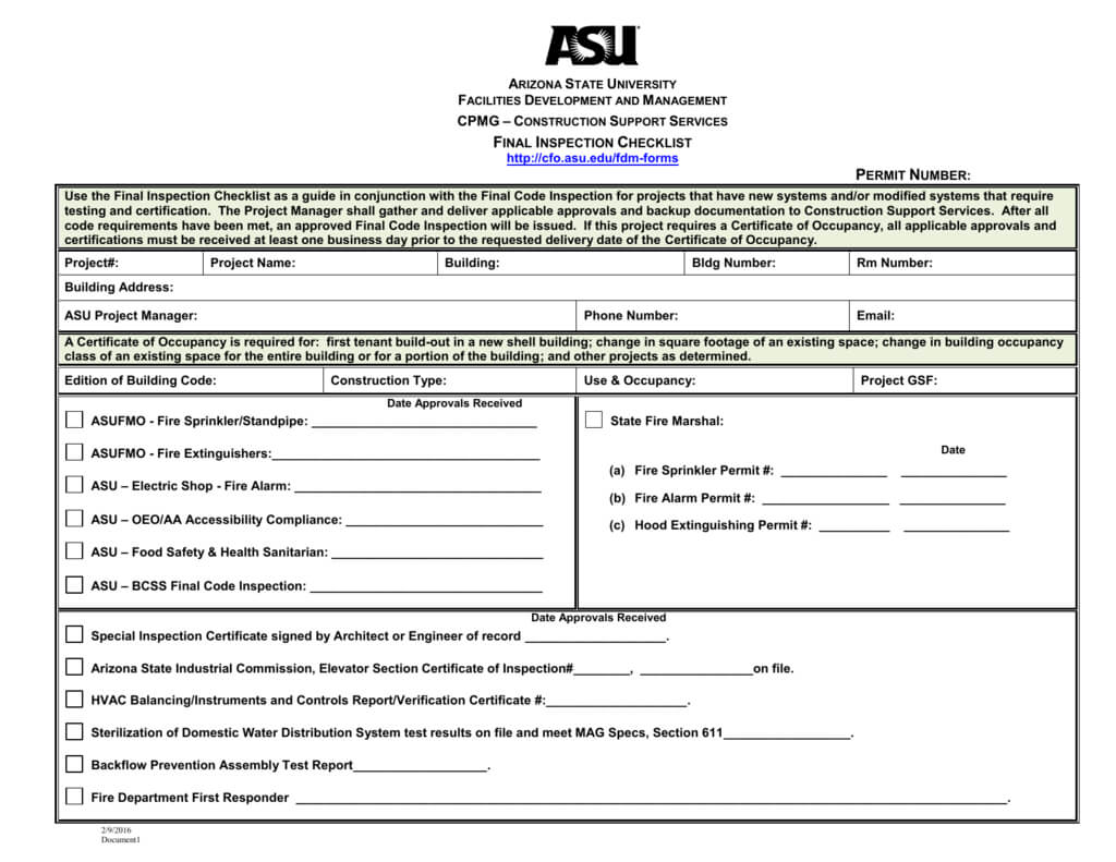Final Inspection Checklist For Certificate Of Inspection Template