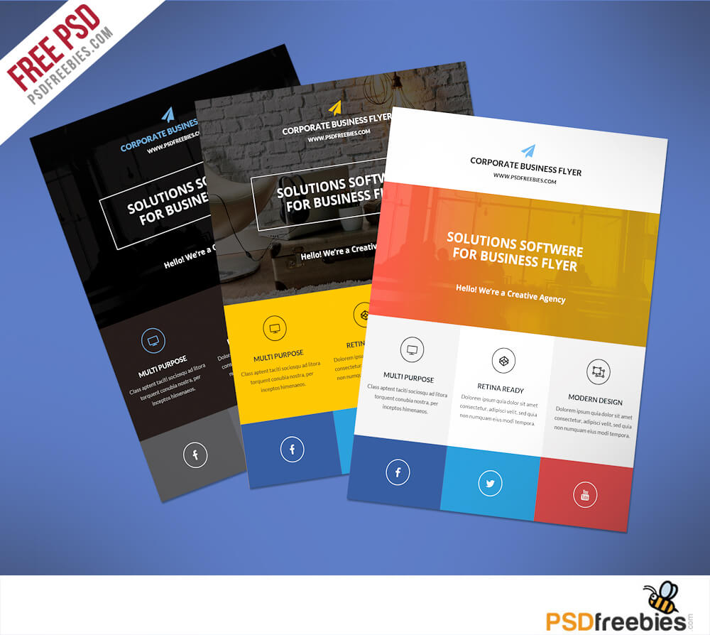 Flat Clean Corporate Business Flyer Free Psd | Psdfreebies In Business Flyer Templates Free Printable