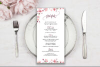 Floral Menu Cards • Bridal Shower Menu Card • Wedding Menu Card • Reception  Menu Card • Menu Template • Printable Menu Cards with Bridal Shower Menu Template