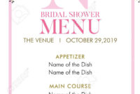 Flower Wedding Menu Template in Bridal Shower Menu Template