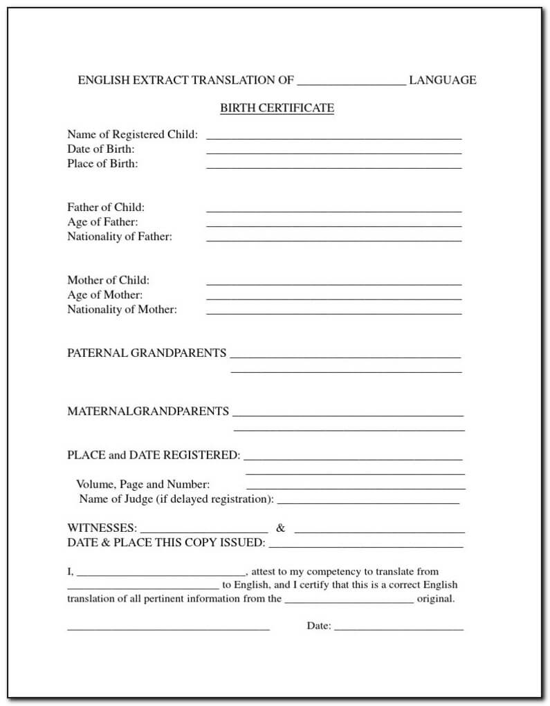 Form Birth Certificate Translation – Form : Resume Examples For Birth Certificate Translation Template Uscis