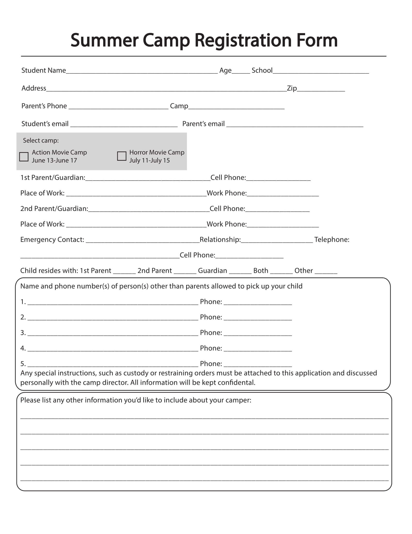 Free 10+ Printable Summer Camp Registration Forms In Pdf For Camp Registration Form Template Word