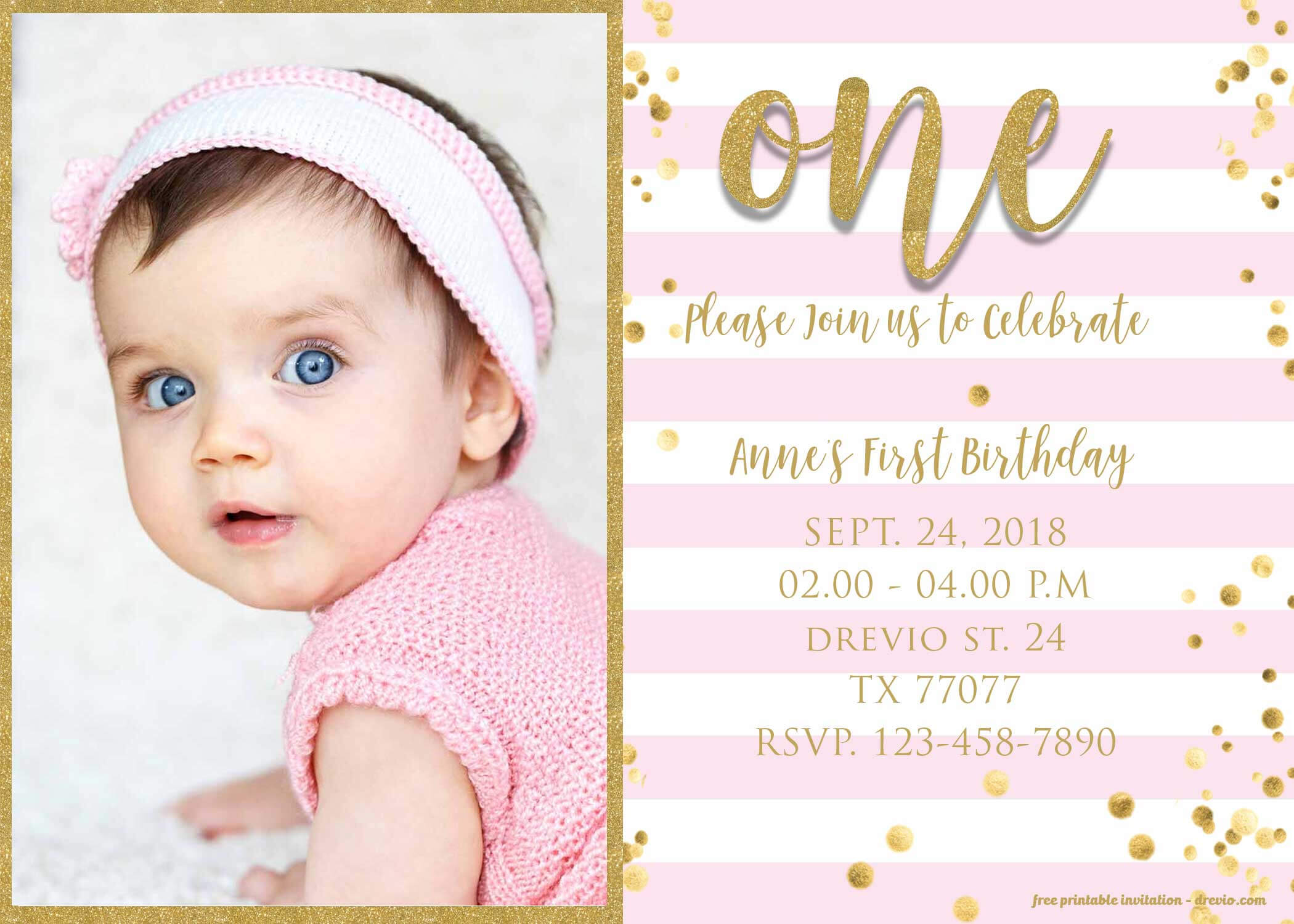 Free 1St Birthday Invitations Template For Girl – Bagvania In 1St Birthday Invitation Templates Free Printable