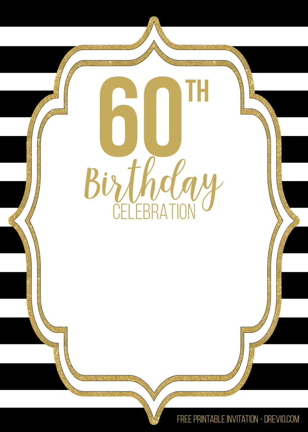 Free 60Th Black Golden Birthday Invitation Templates – Bagvania Regarding 60Th Birthday Party Invitation Template
