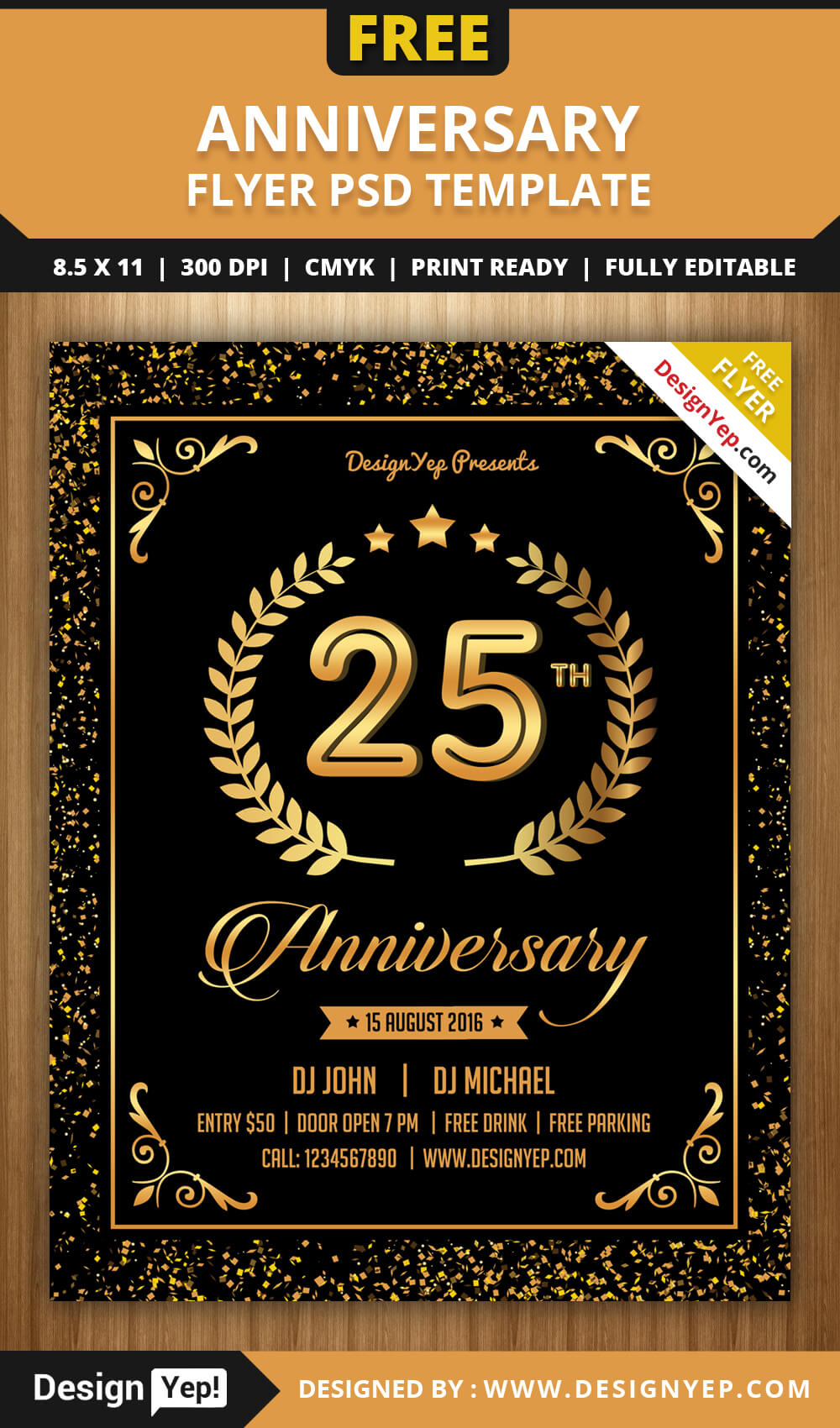 Free Anniversary Party Flyer Psd Template - Designyep Throughout Anniversary Flyer Template Free