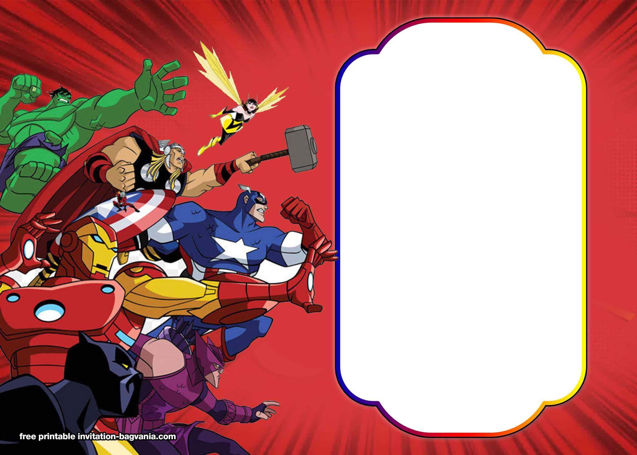 Free Avengers:endgame Birthday Invitation Templates – Bagvania Throughout Avengers Birthday Card Template