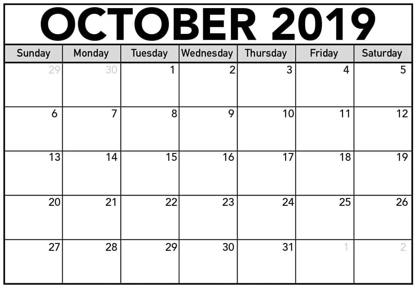 Free Blank Calendar October 2019 Printable – 2019 Calendars With Blank Calendar Template For Kids
