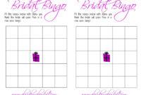 Free Bridal Bingo Template ] – Bridal Shower Bingo Template for Blank Bridal Shower Bingo Template