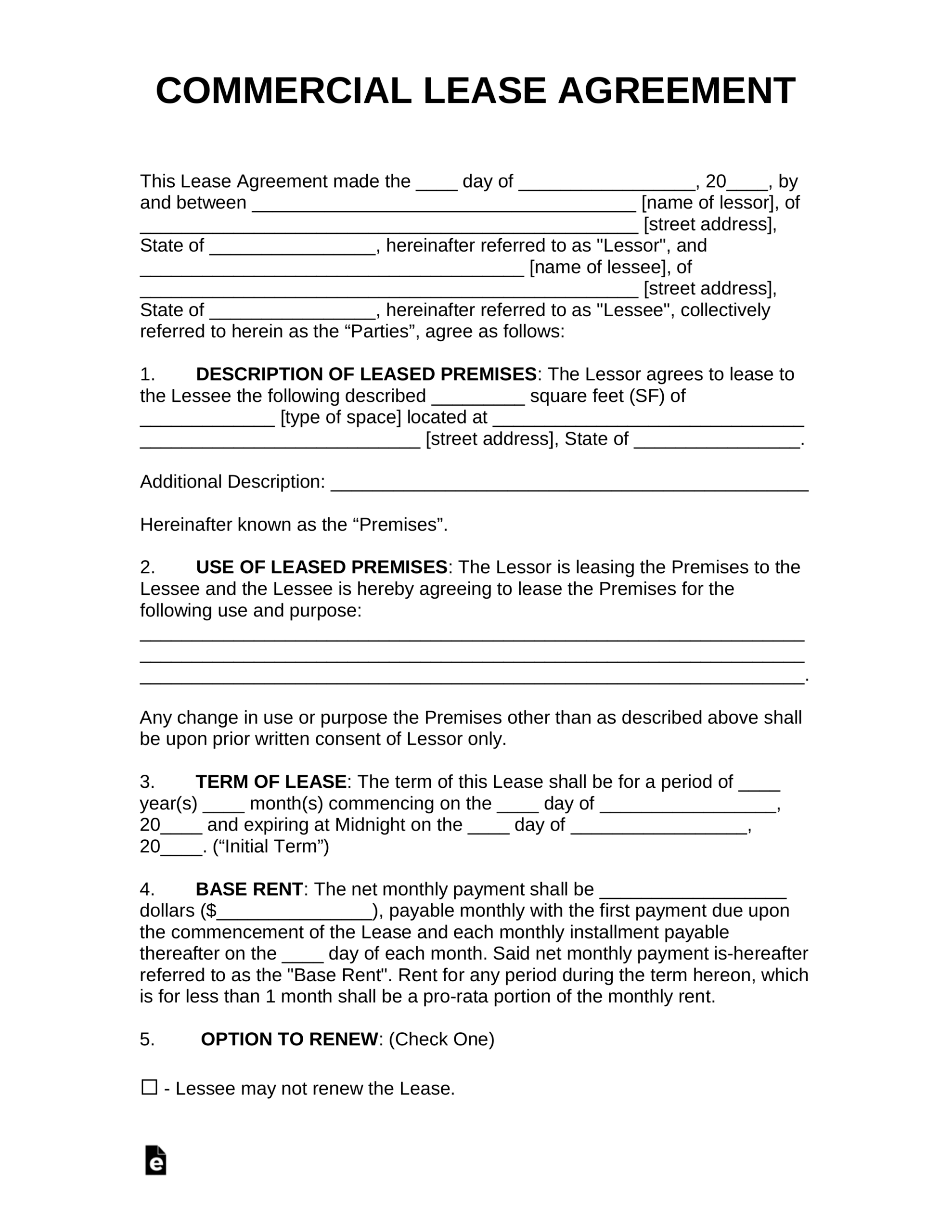 Free Commercial Rental Lease Agreement Templates - Pdf Pertaining To Business Lease Agreement Template Free
