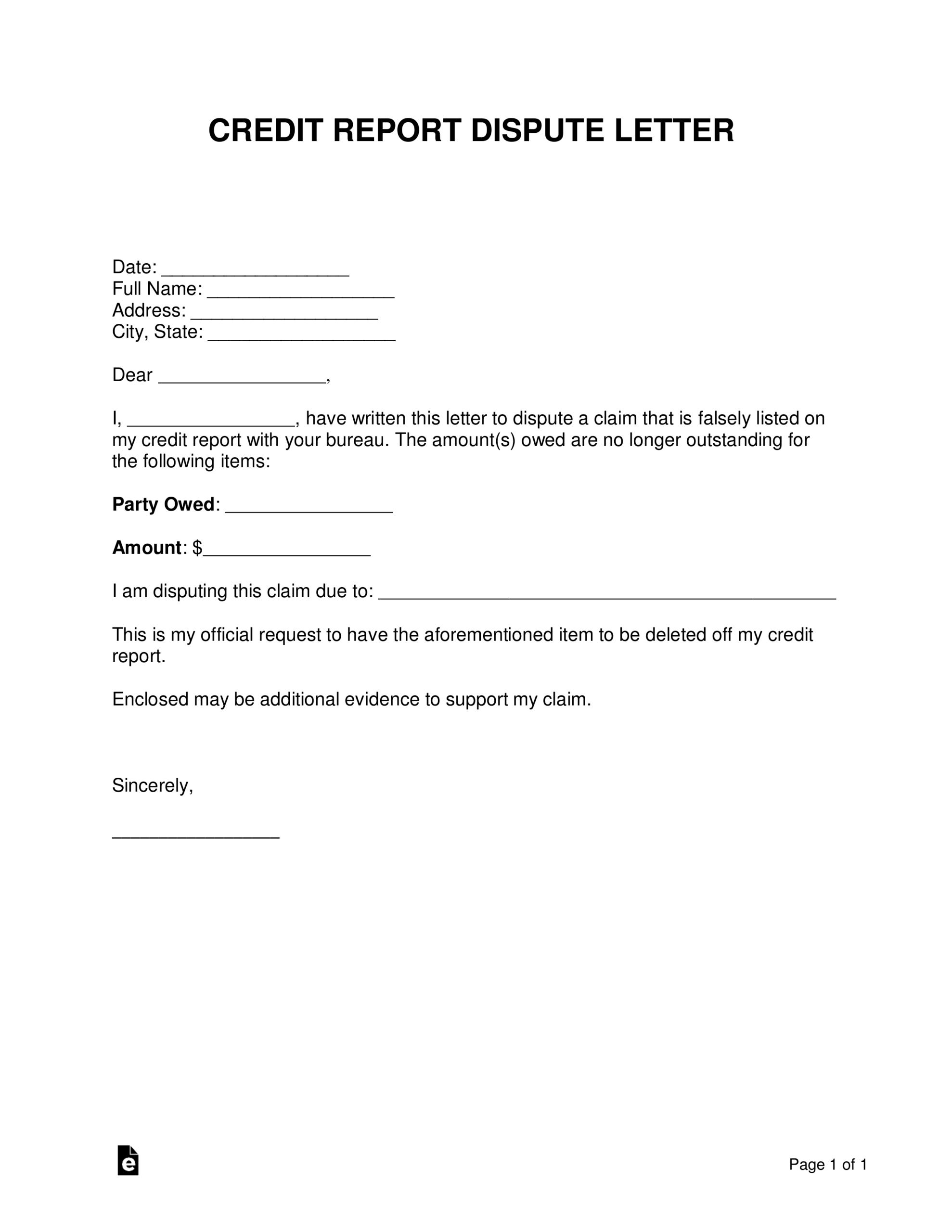 Free Credit Report Dispute Letter Template - Sample - Word For 609 Dispute Letter Template