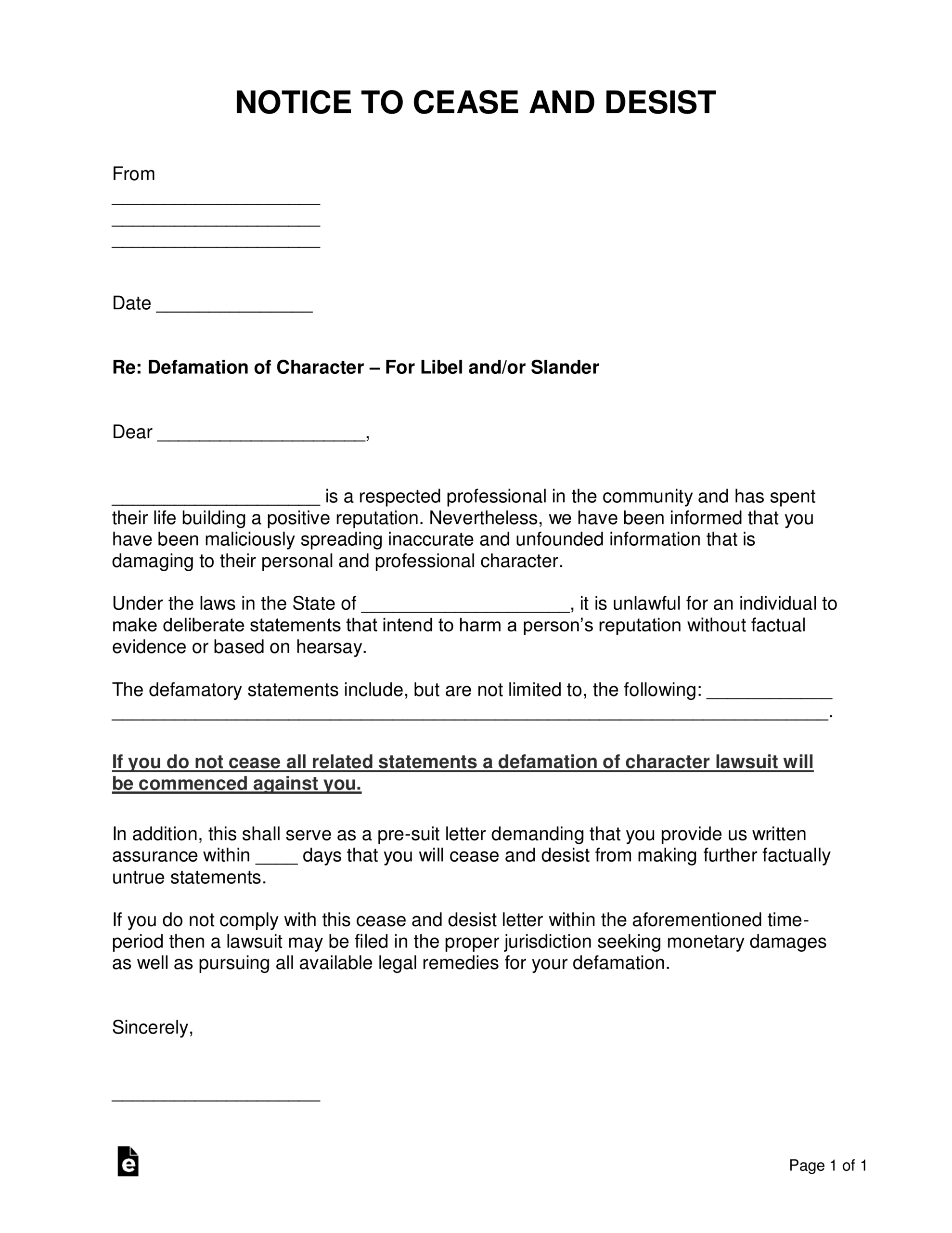 Free Defamation (Slander / Libel) Cease And Desist Letter Intended For Cease And Desist Letter Template Defamation