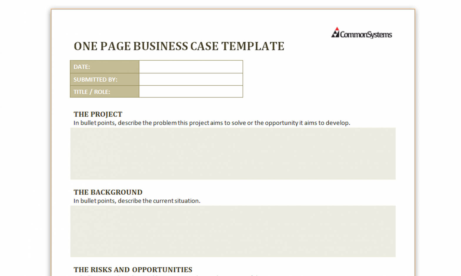 Free Download - One Page Business Case Template | Common Systems Within Business Case One Page Template