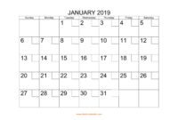 Free Download Printable Calendar 2019 With Check Boxes pertaining to Blank One Month Calendar Template