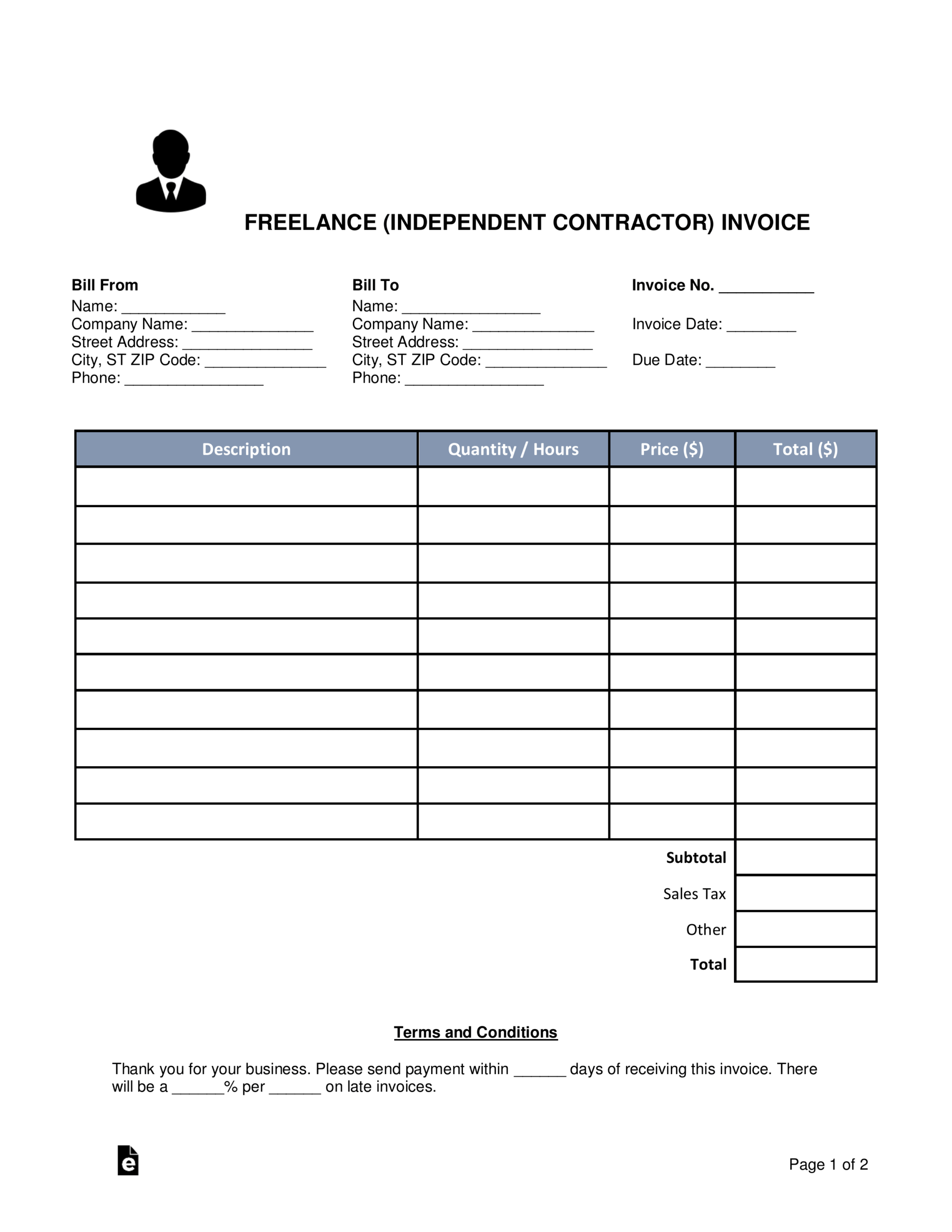 Free Freelance (Independent Contractor) Invoice Template Throughout 1099 Invoice Template