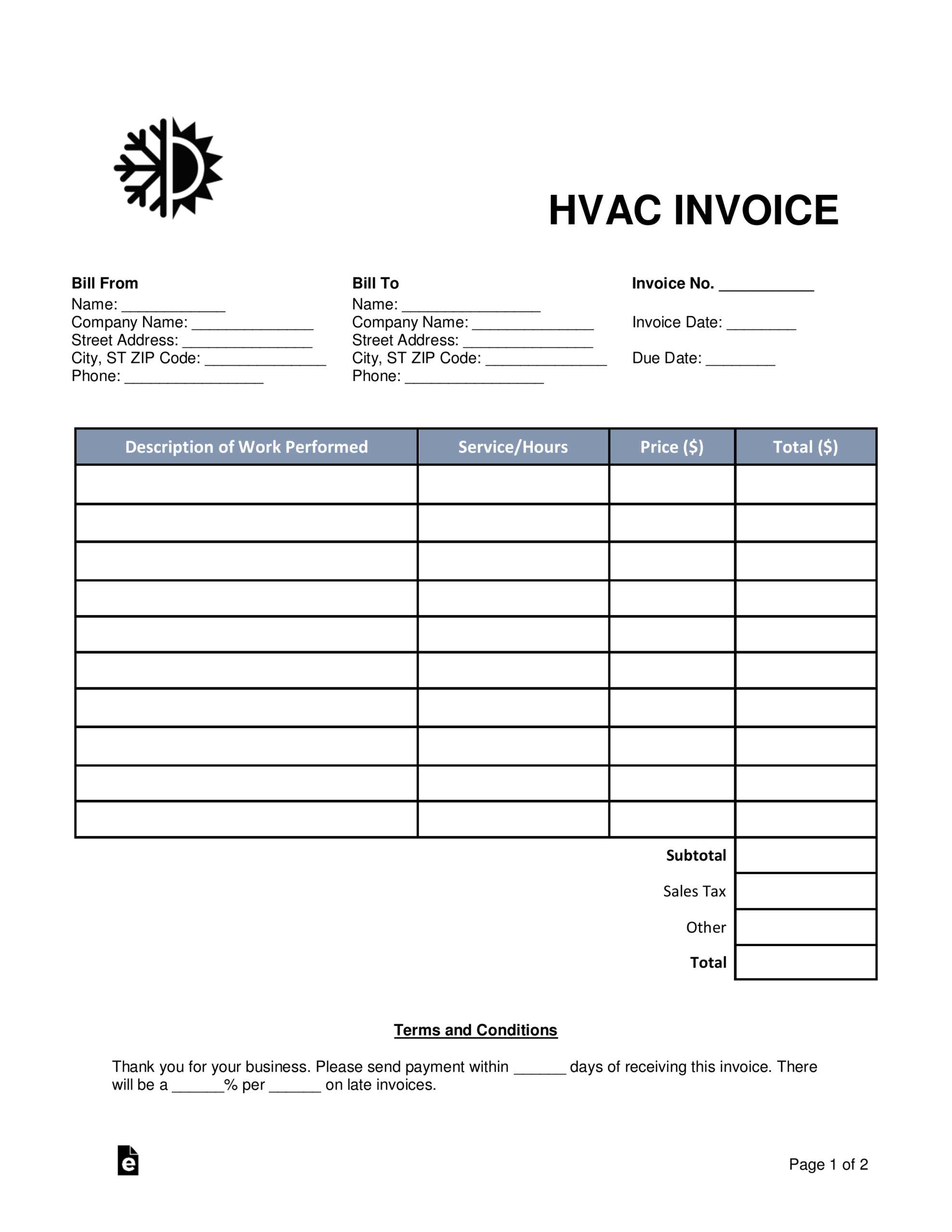 Free Hvac Invoice Template - Word | Pdf | Eforms – Free Regarding Air Conditioning Invoice Template