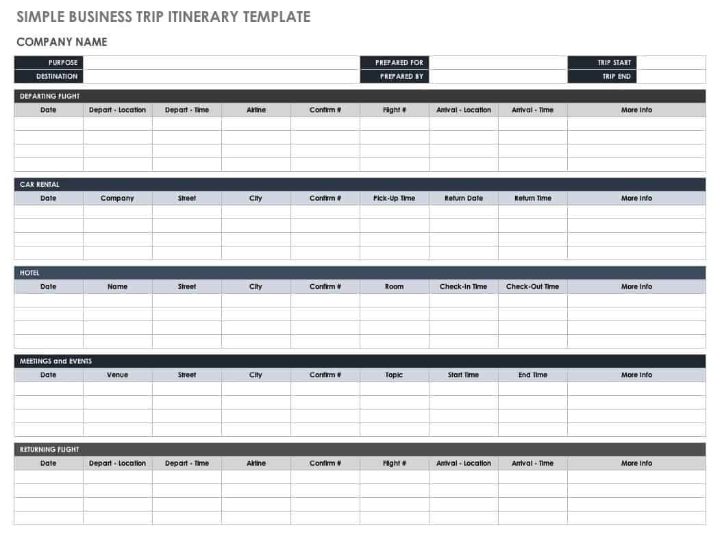 Free Itinerary Templates | Smartsheet Intended For Business Travel Itinerary Template Word
