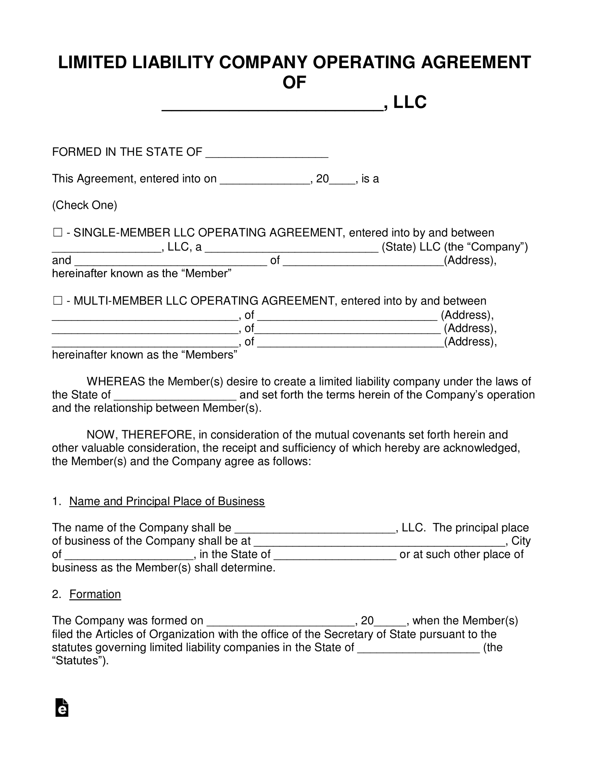 Free Llc Operating Agreement Templates - Pdf | Word | Eforms In Articles Of Organization Llc Template