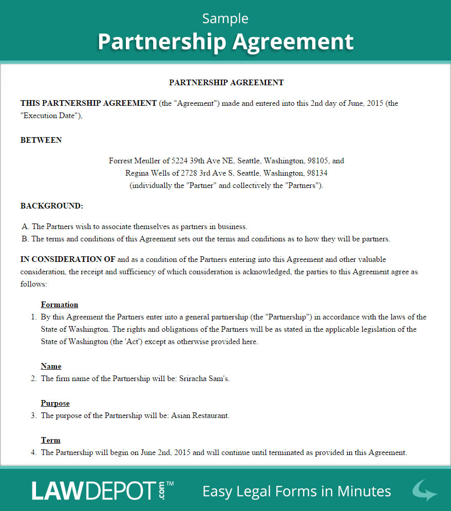 Free Partnership Agreement - Create, Download, And Print For Business Contract Template For Partnership