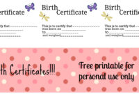 Free Printable: Doll Birth Certificates And Announcements inside Baby Doll Birth Certificate Template