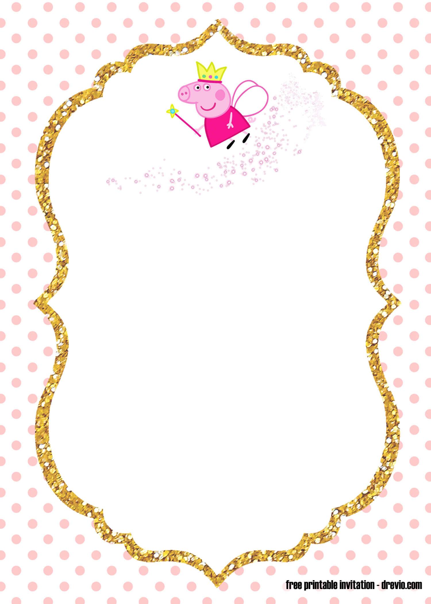 Free Printable Fairy Peppa Pig Invitation Templates – Bagvania Within Blank Templates For Invitations