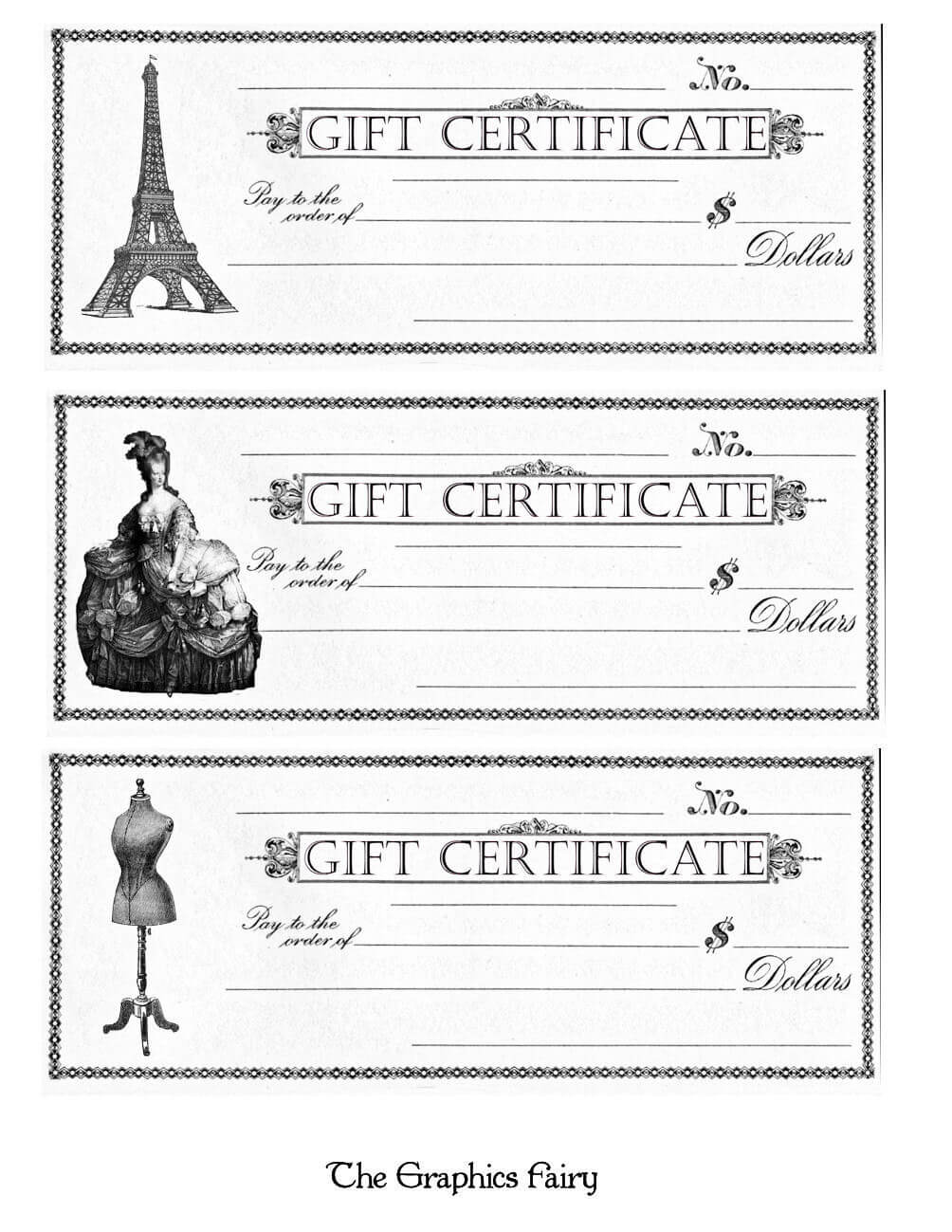 Free Printable – Gift Certificates – The Graphics Fairy Within Black And White Gift Certificate Template Free