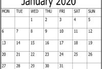 Free Printable January 2020 Calendar Word Template – Free within Blank Word Wall Template Free