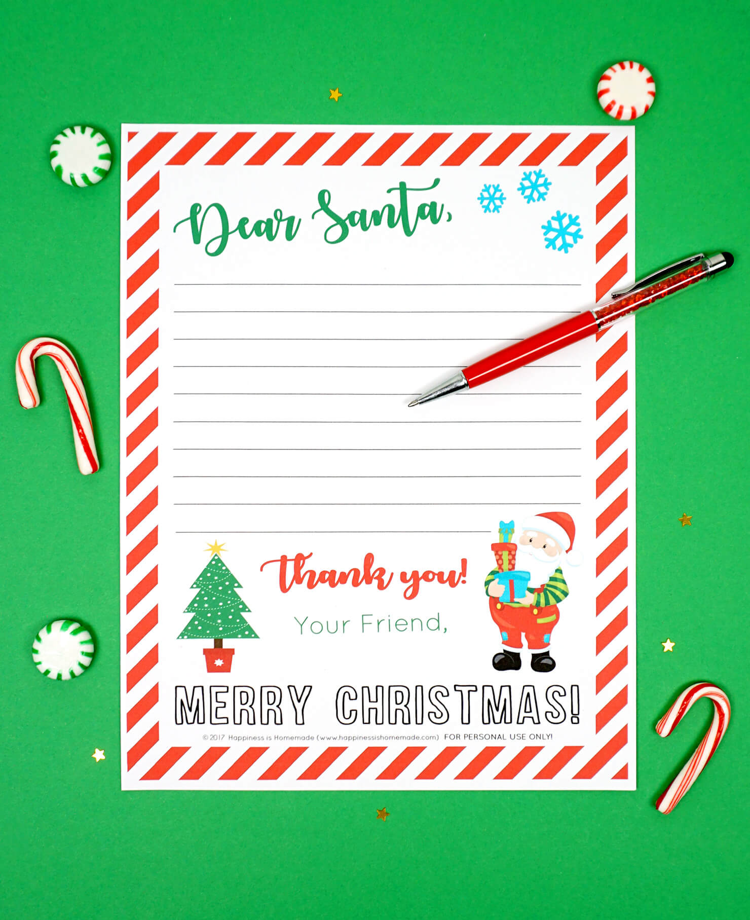 Free Printable Letter To Santa – Happiness Is Homemade Throughout Blank Letter Writing Template For Kids