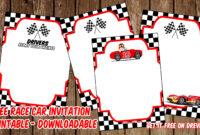 Free Printable Race Car Invitation Templates – Bagvania inside Blank Race Car Templates