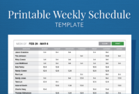Free Printable Weekly Work Schedule Template For Employee regarding Blank Monthly Work Schedule Template