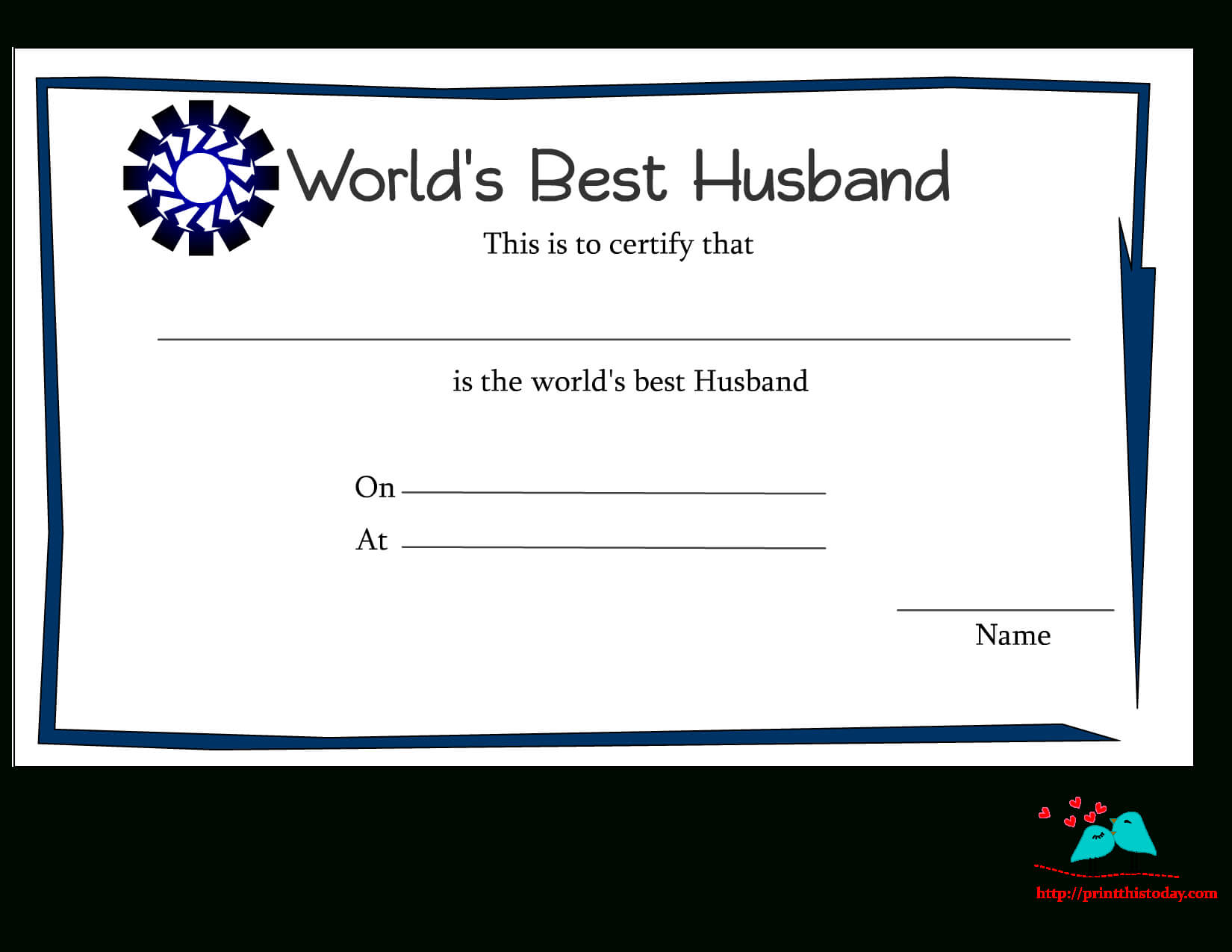 Free Printable World's Best Husband Certificates Regarding Anniversary Certificate Template Free