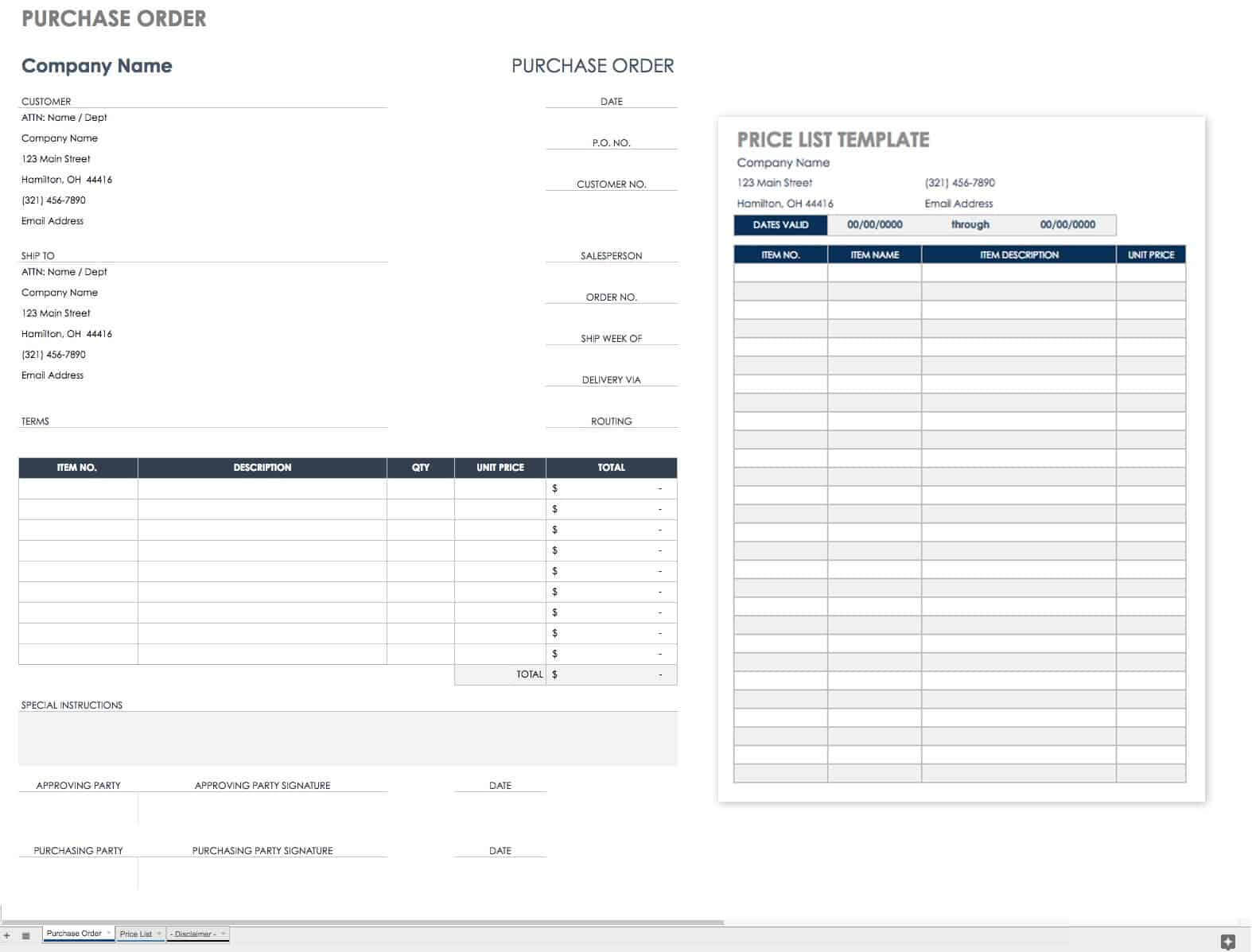 Free Purchase Order Templates | Smartsheet With Blank Money Order Template