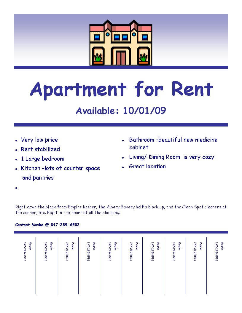 Free Rent Advertisement - Tunu.redmini.co Intended For Apartment For Rent Flyer Template Free