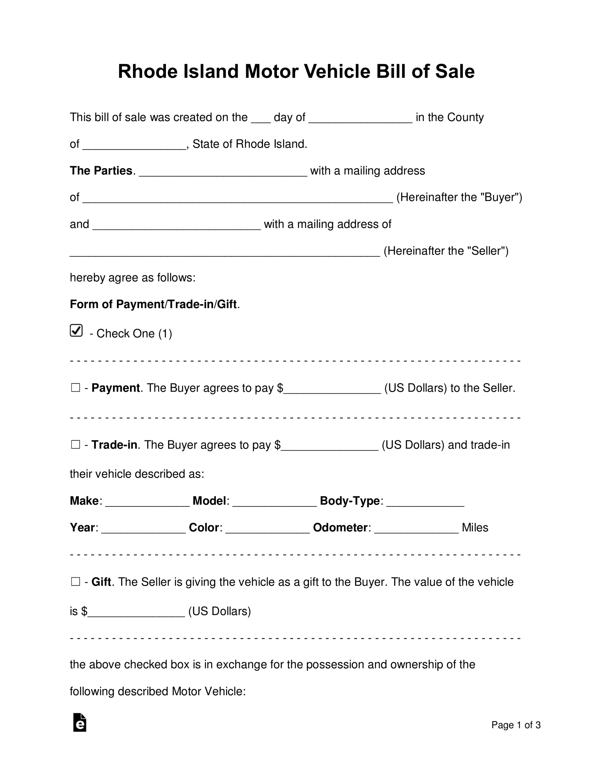 Free Rhode Island Motor Vehicle Bill Of Sale Form - Word Regarding Bill Of Sale Template Ri