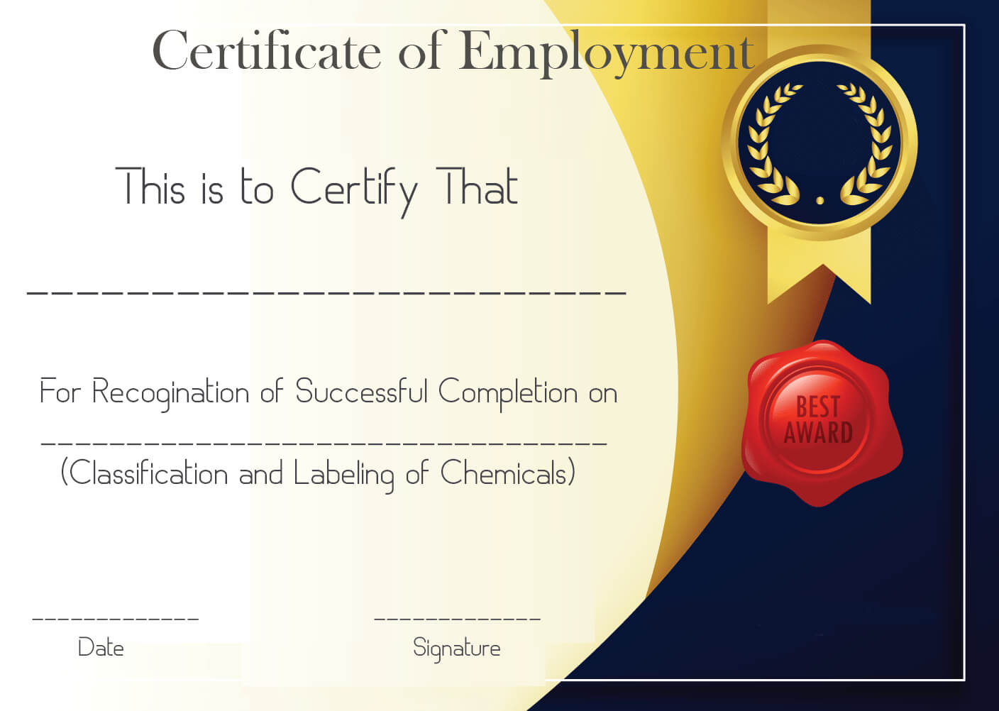 Free Sample Certificate Of Employment Template | Certificate For Best Performance Certificate Template