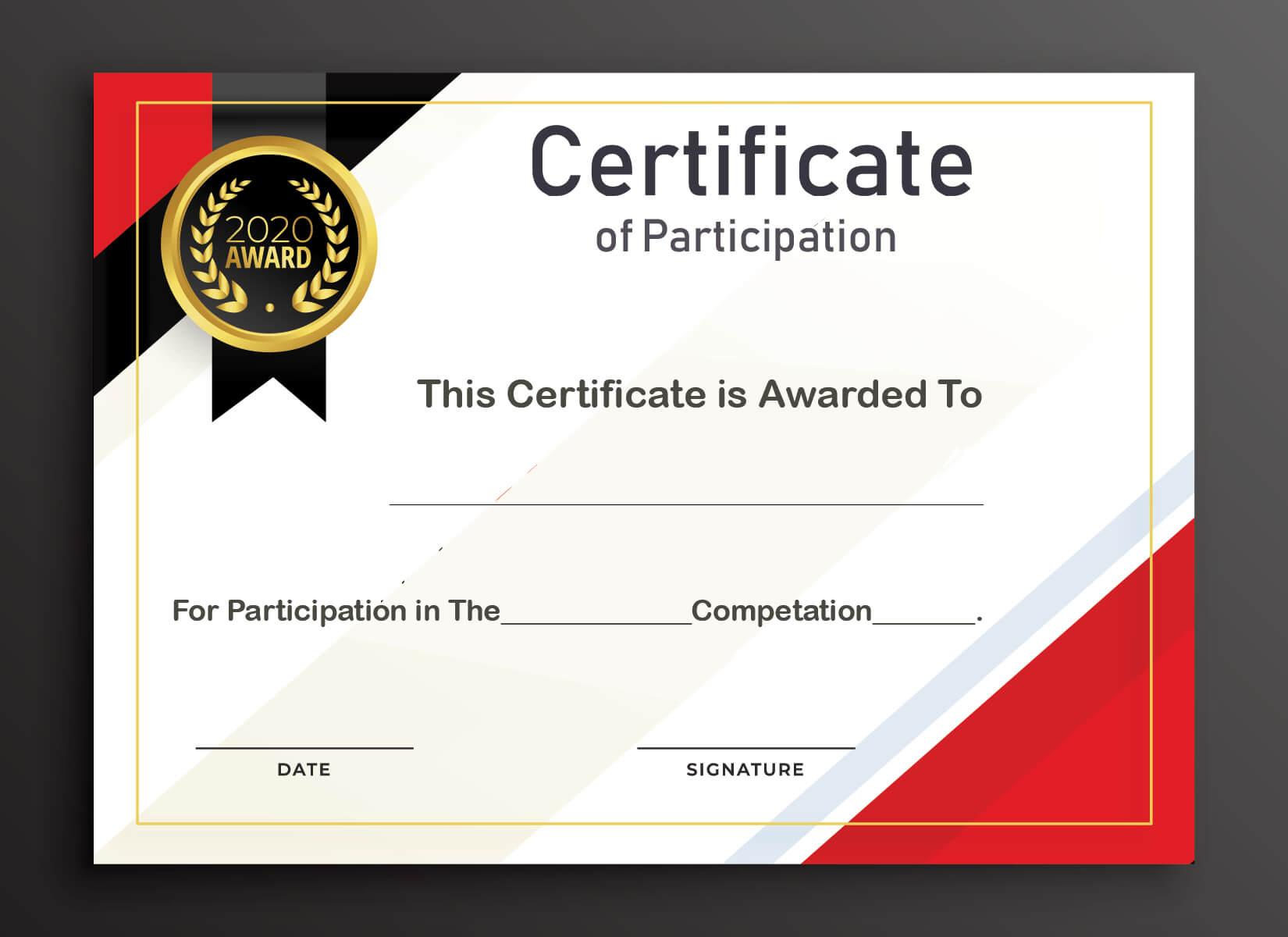 Free Sample Format Of Certificate Of Participation Template Intended For Certificate Of Participation Template Pdf