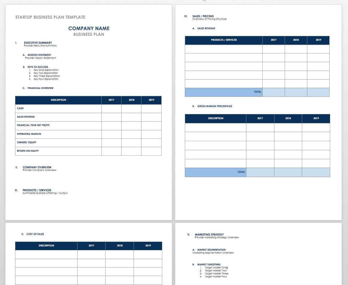 Free Startup Plan, Budget & Cost Templates | Smartsheet Throughout Business Costing Template
