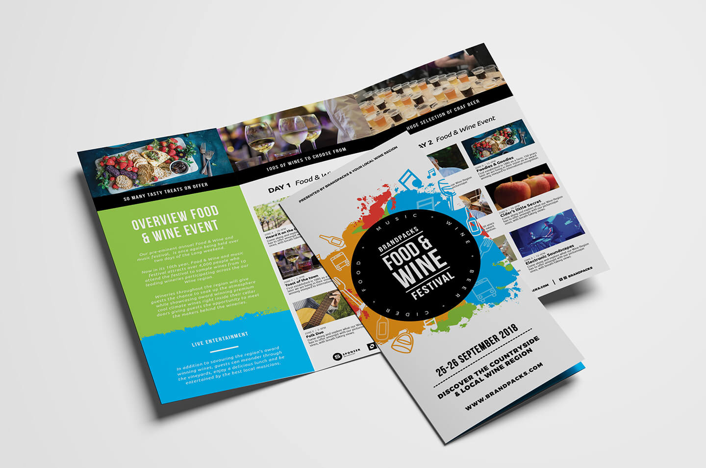 Free Tri Fold Brochure Template For Events & Festivals - Psd With Regard To 2 Fold Brochure Template Free
