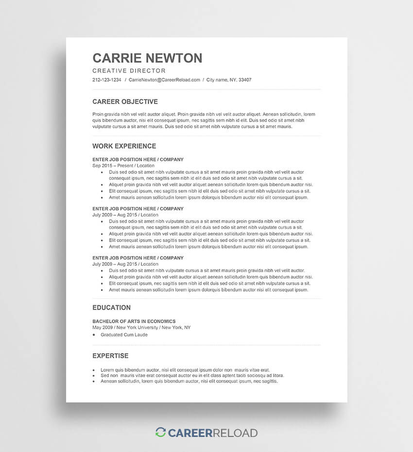 Free Word Resume Templates - Free Microsoft Word Cv Templates Throughout Ats Friendly Resume Template