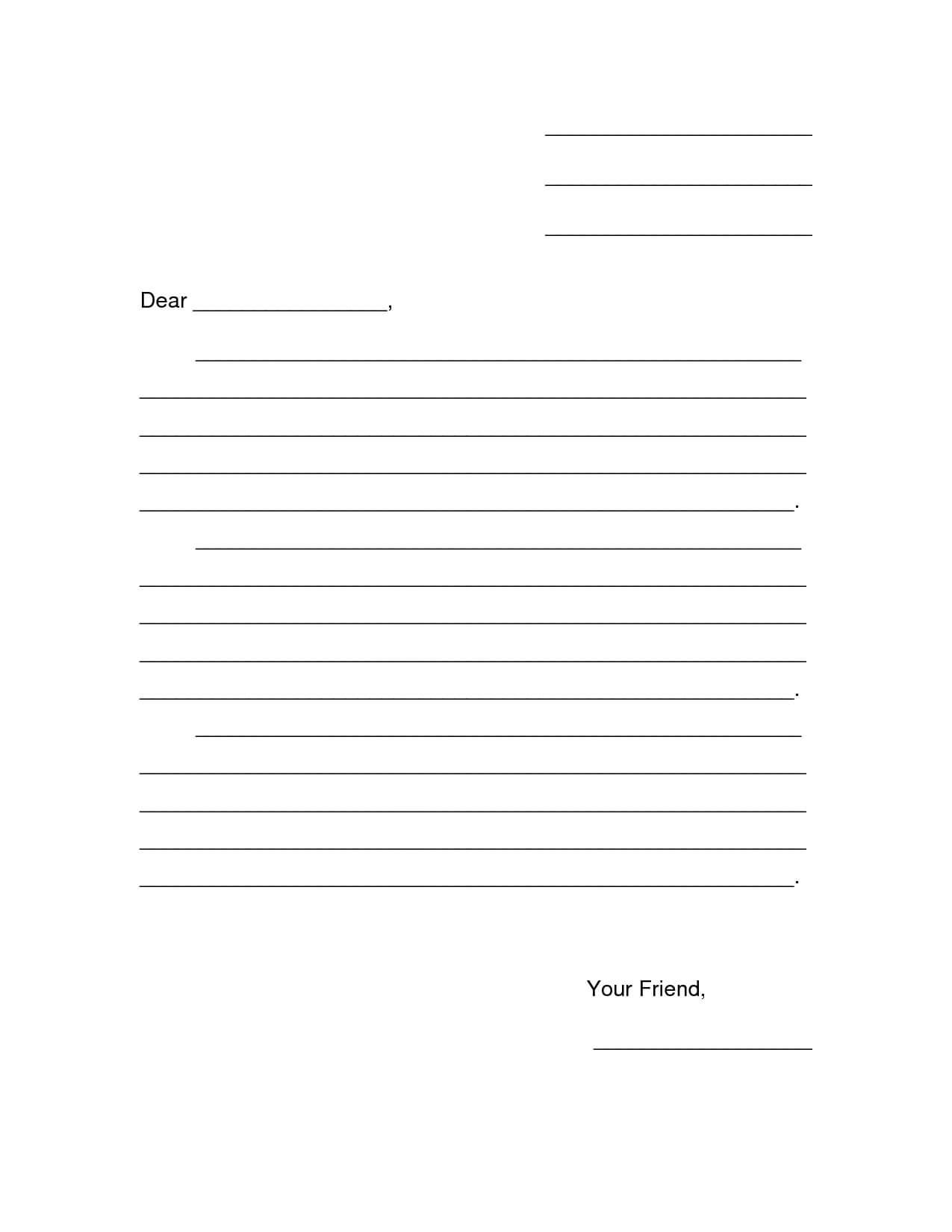 Friendly Letter Template Pdf ] – Free Friendly Letter Regarding Blank Letter Writing Template For Kids