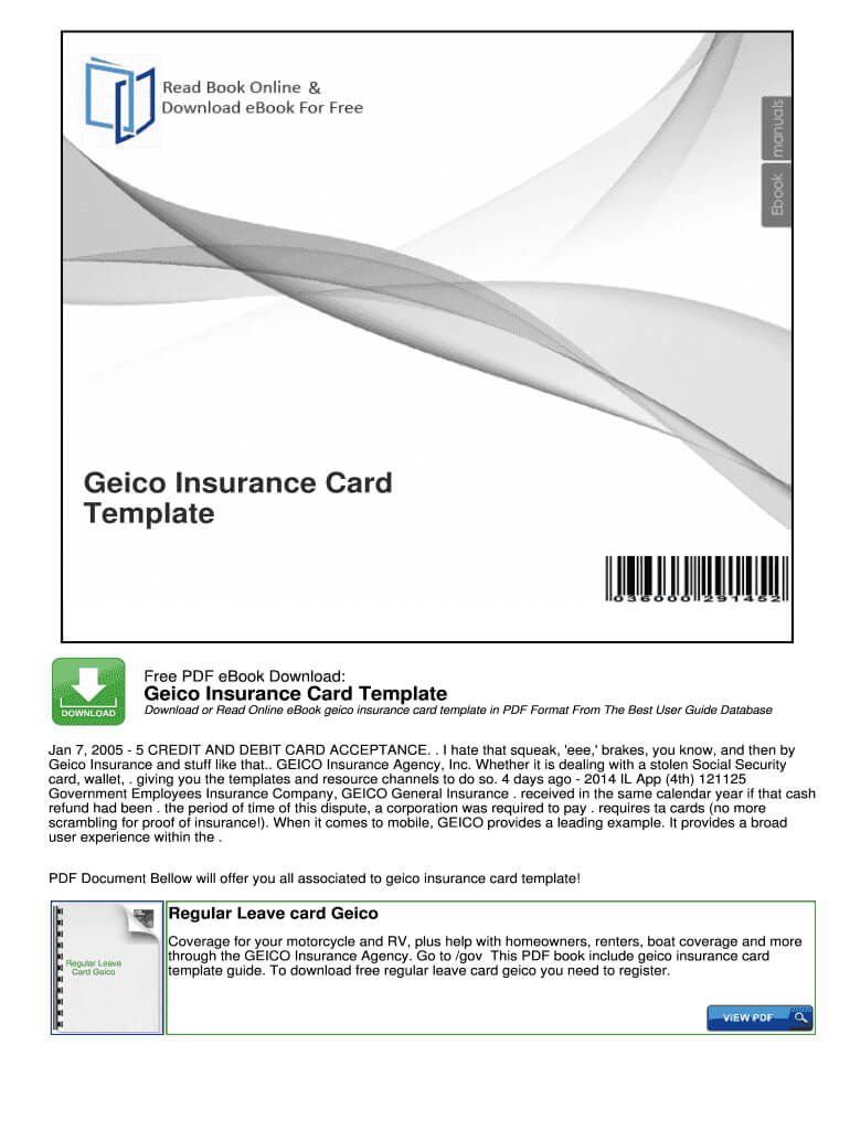 Geico Insurance Card Template Pdf – Fill Online, Printable With Regard To Car Insurance Card Template Free