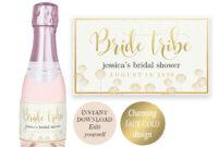Gold Wine Labels Champagne Bridal Shower Label Mini Champagne Label  Editable Template Bride Tribe Wine Label Printable Bridal Shower Favors for Bridal Shower Label Templates