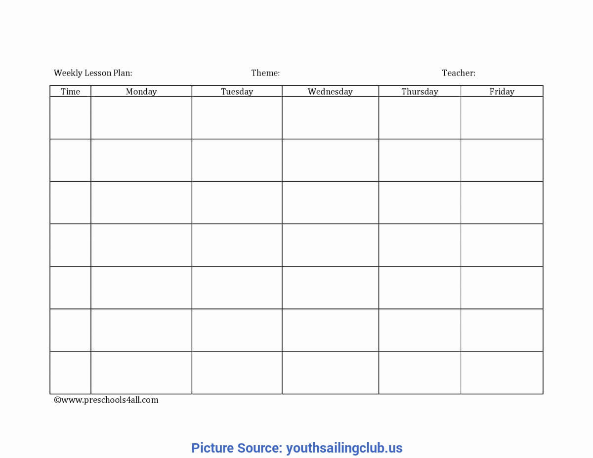 Good Blank Lesson Plan Template Daycare Home Lesson Plans Inside Blank Preschool Lesson Plan Template
