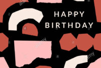 Greeting Card Template With Paper Cut Shapes In Cream pertaining to Birthday Card Collage Template
