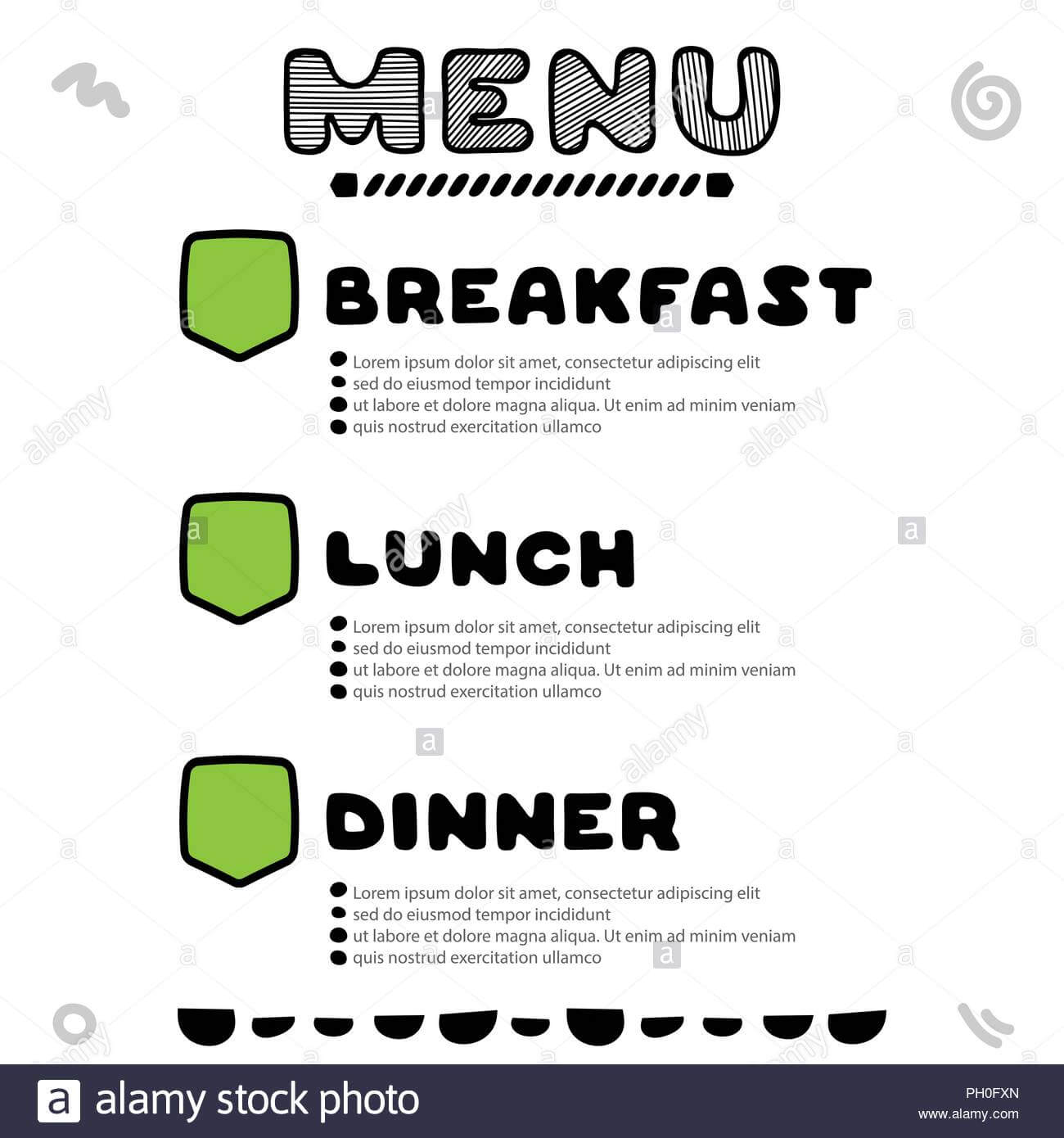 Hand Drawn Menu For Cafe With Breakfast, Lunch, Dinner Regarding Breakfast Lunch Dinner Menu Template