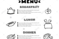 Hand Drawn Menu For Cafe With Breakfast, Lunch, Dinner throughout Breakfast Lunch Dinner Menu Template