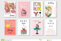 Hand Drawn Vector Abstract Textured Unusual Artistic Collage inside Birthday Card Collage Template