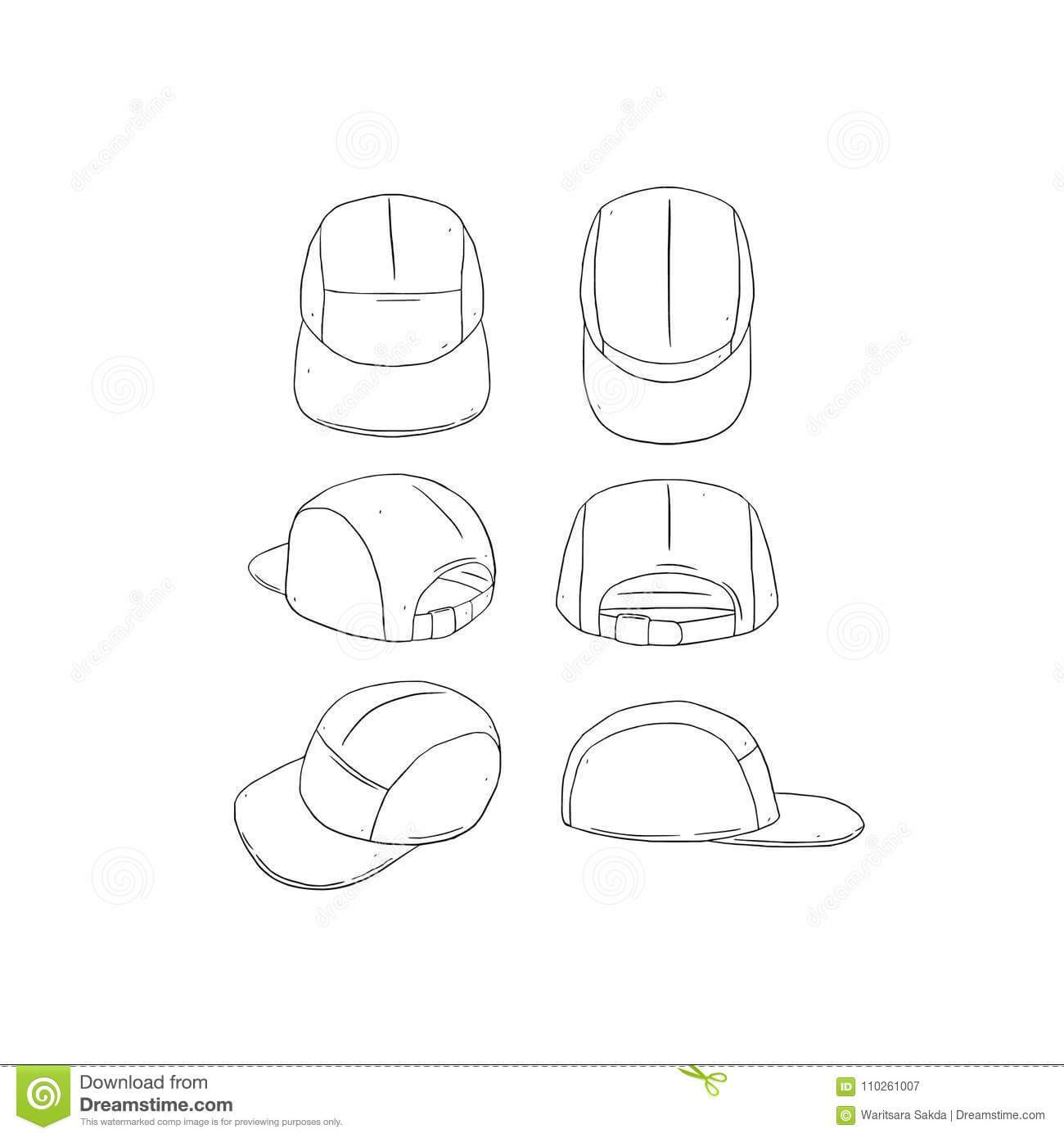 Hand Drawn Vector Illustration Of Blank 5 Panel Camp Hat,cap Within 5 Panel Hat Template