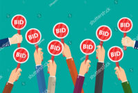 Hand Hold Paddle Bid Auction Meeting Stock Illustration in Auction Bid Cards Template